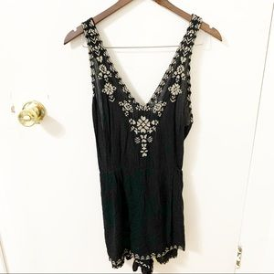 Free People Shorts - Free People Welcome to Miami black romper size 6